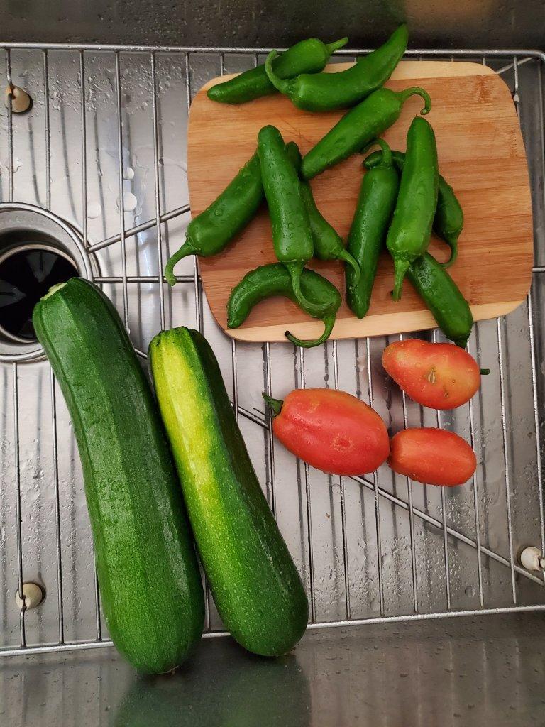 Summer harvest in sink